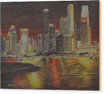 Singapore Nights Wood Print by Nik Helbig