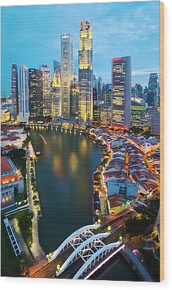 Singapore River Wood Print by Ng Hock How