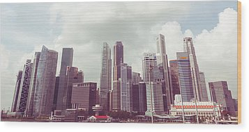 Wood Print featuring the photograph Singaport Cityscape The Second by Joseph Westrupp