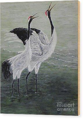 Singing Cranes Wood Print by Judy Kirouac