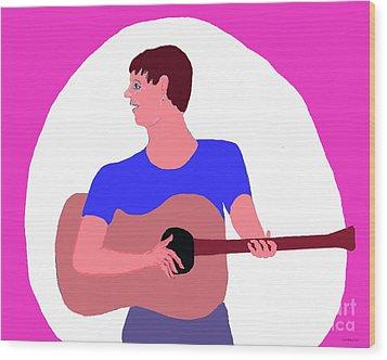 Singing Guitarist Wood Print by Fred Jinkins