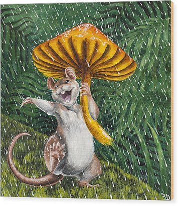 Singing In The Rain Wood Print by Beth Davies