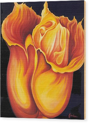 Singing Tulip Wood Print by Jordana Sands