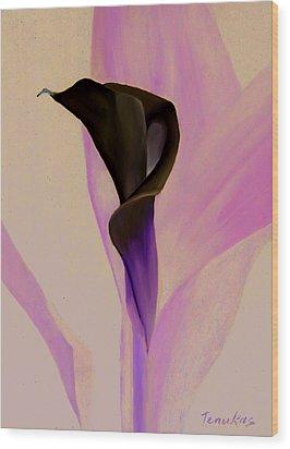 Single Calla Lily Wood Print