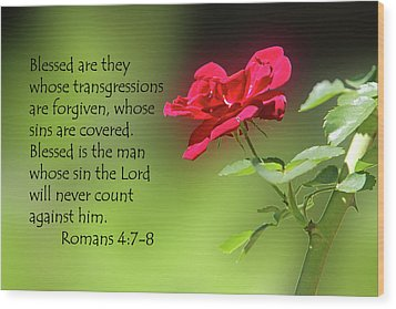 Single Red Rose Romans 4 V 7-8 Wood Print