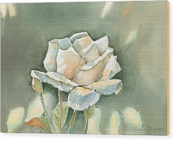 Single  White Rose Wood Print by Arline Wagner