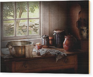 Sink - The Morning Chores Wood Print by Mike Savad