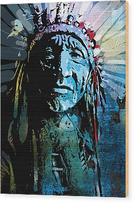 Sioux Chief Wood Print by Paul Sachtleben