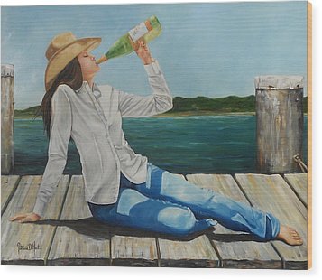 Sippin' On The Dock Of The Bay Wood Print by Patricia DeHart
