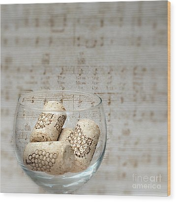 Sipping Wine While Listening To Music Wood Print