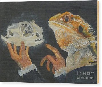 Sir Bearded-dragon As Hamlet Wood Print by Jessmyne Stephenson