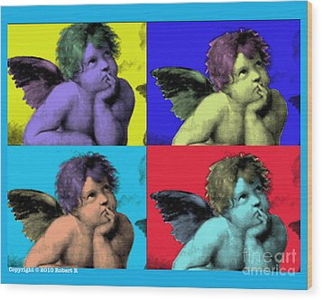 Sisteen Chapel Blue Cherub Angels After Michelangelo After Warhol Robert R Splashy Art Pop Art Print Wood Print by Robert R Splashy Art