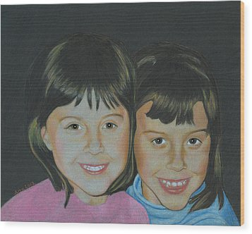 Wood Print featuring the drawing Sisters  by Ana Tirolese