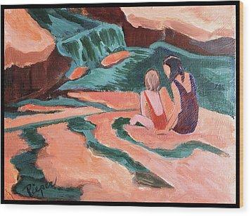 Sisters At Slide Rock Wood Print by Betty Pieper