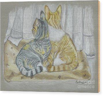 Wood Print featuring the drawing Sisters  by Carol Wisniewski