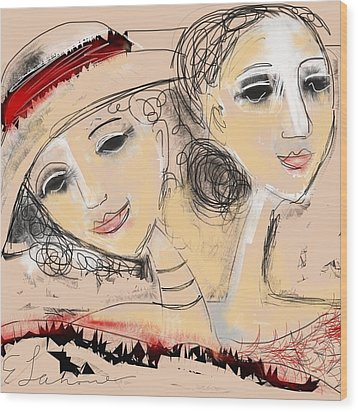 Wood Print featuring the digital art Sisters by Elaine Lanoue