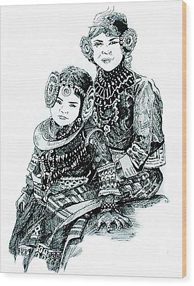 Sisters Wood Print by Ramneek Narang