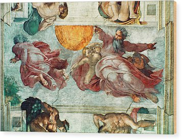 Sistine Chapel Ceiling Creation Of The Sun And Moon Wood Print by Michelangelo