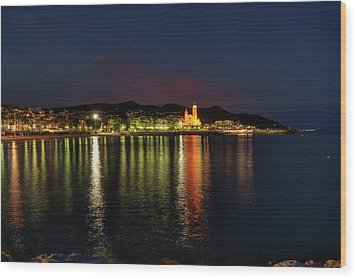 Wood Print featuring the photograph Sitges Night 001 by Lance Vaughn