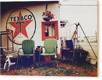 Sitting At The Texaco Wood Print
