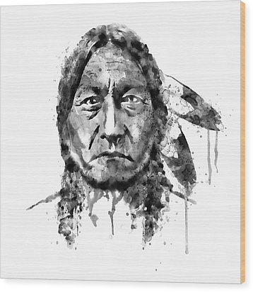 Wood Print featuring the mixed media Sitting Bull Black And White by Marian Voicu
