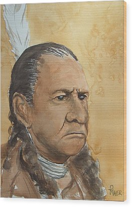 Sitting Bull Wood Print by Pete Maier