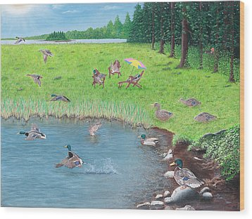 Wood Print featuring the painting Sitting Ducks by Cindy Lee Longhini