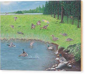 Sitting Ducks Wood Print by Cindy Lee Longhini