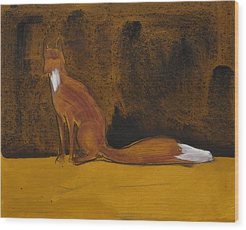 Sitting Fox In Iron Oxide And Lime Wood Print by Sophy White