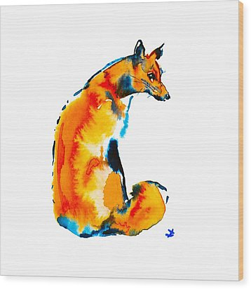 Wood Print featuring the painting Sitting Fox by Zaira Dzhaubaeva