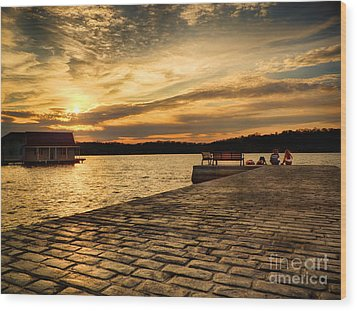 Sitting On The Dock Of The Lake Wood Print by Mark Miller