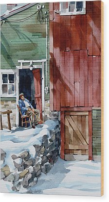 Sitting Out Winter Wood Print by Art Scholz