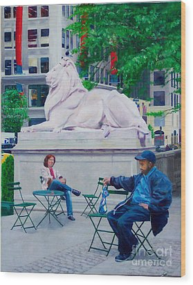 Sitting With Patience Wood Print by Lou Spina