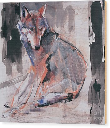 Sitting Wolf Wood Print
