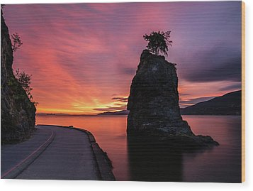 Wood Print featuring the photograph Siwash Rock Along The Sea Wall by Pierre Leclerc Photography