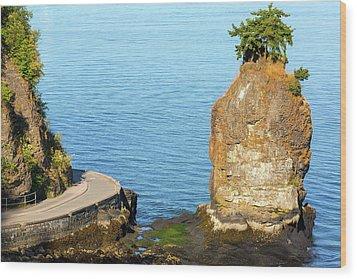 Siwash Rock By Stanley Park Seawall Wood Print by David Gn