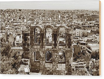 Six Arches In Athens Wood Print by John Rizzuto