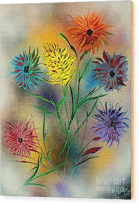 Six Flowers - E Wood Print