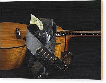 Six Gun And Guitar On Black Wood Print by M K  Miller