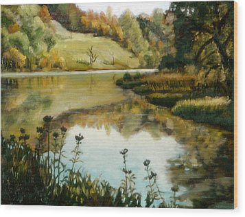 Six Mile Creek Ithaca Wood Print by John Clum