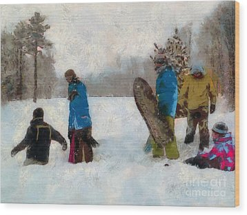 Six Sledders In The Snow Wood Print by Claire Bull