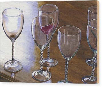Six Wine Glasses Wood Print by Catherine G McElroy