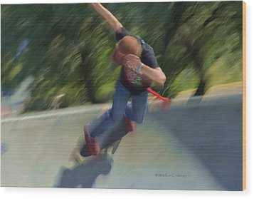 Skateboard Action Wood Print by Kae Cheatham