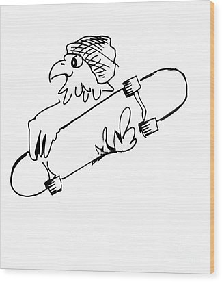 Skateboard Hawk  Wood Print