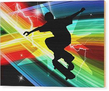Skateboarder In Criss Cross Lightning Wood Print by Elaine Plesser