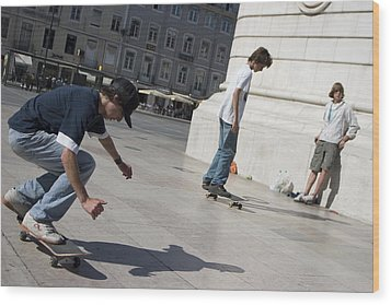 Wood Print featuring the photograph Skateboarder In Lisbon by Carl Purcell
