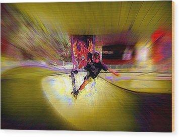 Wood Print featuring the photograph Skateboarding by Lori Seaman