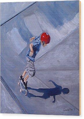 Skateboarding Wood Print by Quwatha Valentine