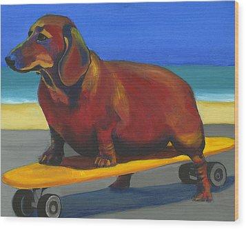 Skaterdog Wood Print by Debbie Brown