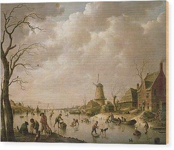 Skaters On A Frozen Canal Wood Print by Hendrik Willem Schweickardt